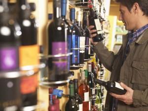 buying wine in supermarket